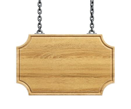 Photo for Wooden sign board hanging on a chains isolated on white background 3d rendering - Royalty Free Image