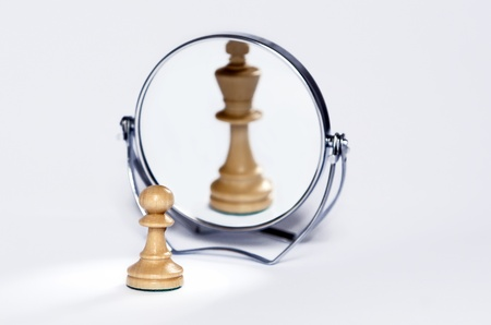 chess pawn, contrast, mirror reflection, chess king