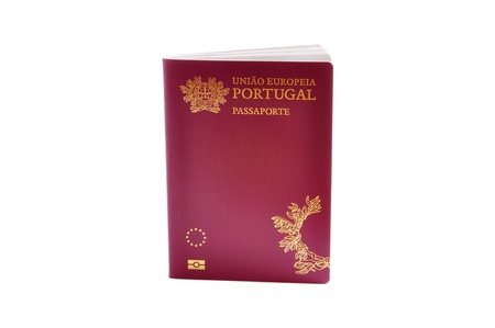 Portuguese biometric passport isolated on a white background