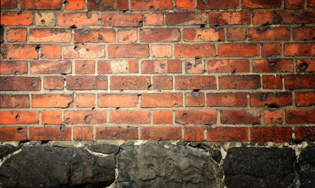 Wall background made of bricks and stones