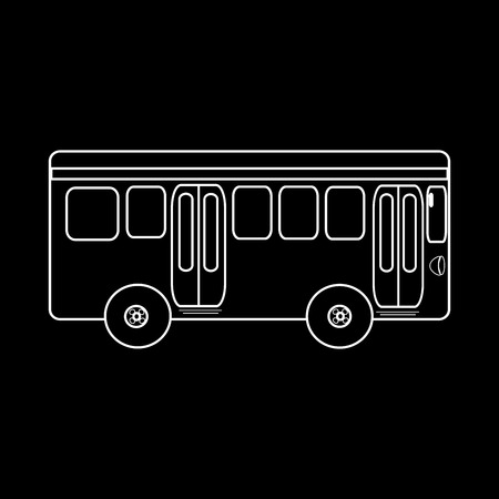Passenger bus journey to city public transport. Black and white silhouette of the car