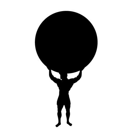 Illustration pour Atlas Titan god holds earth silhouette ancient mythology fantasy - image libre de droit
