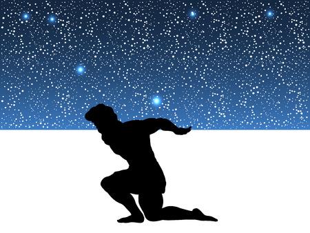 Illustration pour Atlas Titan god holds sky silhouette ancient mythology fantasy - image libre de droit