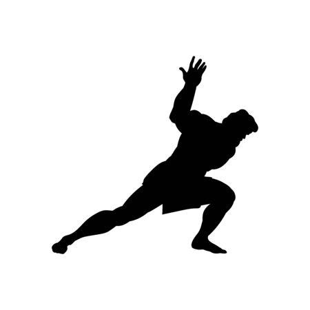 Illustration pour Athlete sportsman silhouette strong male. Vector illustration. - image libre de droit