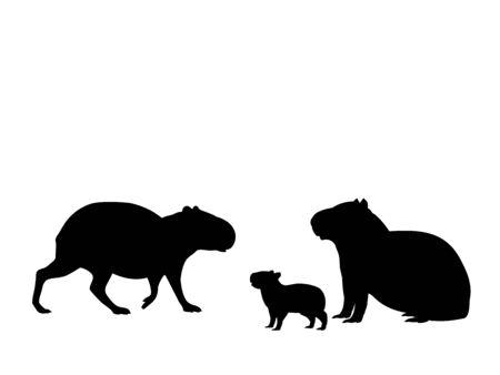 Illustration pour Capybara family. Silhouettes of animals - image libre de droit