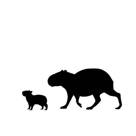 Illustration pour Silhouette of capybara and young little capybara. Vector illustrator - image libre de droit