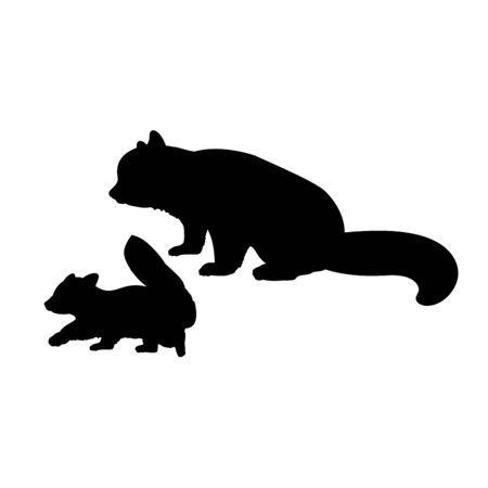 Illustration pour Silhouette of red Panda and young little red Panda. Vector illustrator - image libre de droit
