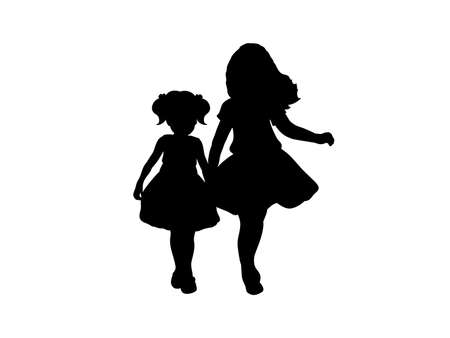 Illustration for Silhouettes of two girls sisters friends. - Royalty Free Image