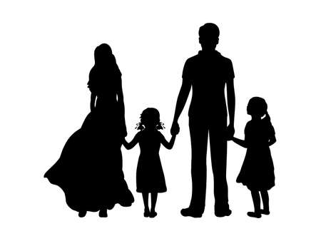 Illustration for Silhouettes father mother and two daughters from back hold hands - Royalty Free Image