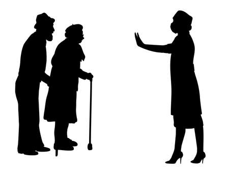 Illustration for Silhouettes of grandparents and doctor showing stop gesture - Royalty Free Image