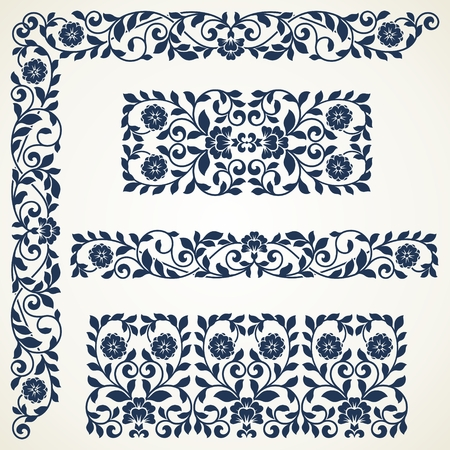 Set of floral elements for design. Set of vintage ornate borders.