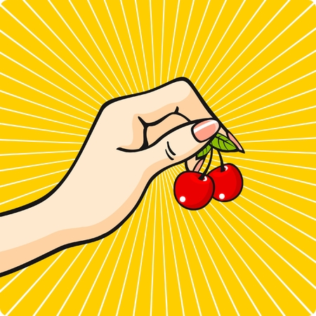 Illustration for Hand with a cherry - Royalty Free Image