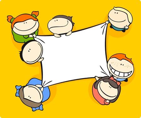 Cute cartoon kids holding a canvas