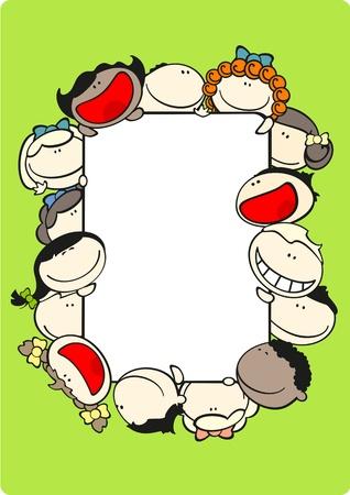 Illustration for Vertical frame with kids - Royalty Free Image