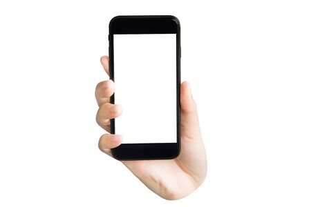 Photo for hand holding blank screen phone isolated on white background - Royalty Free Image