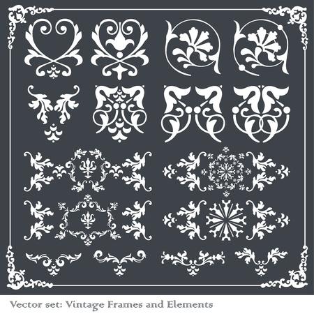 Vintage vector elements for borders, frames