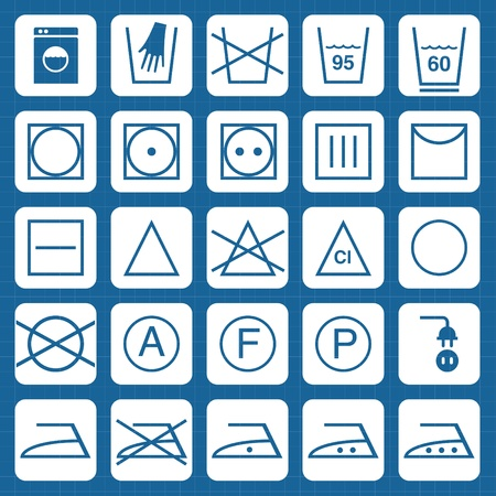 Icon Set of washing symbols vector