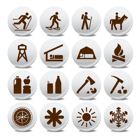 Set of vector silhouette icons on the active leisure