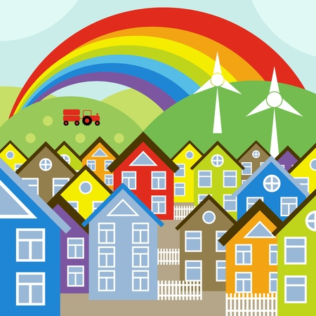 Houses vector background with wind generators and rainbow