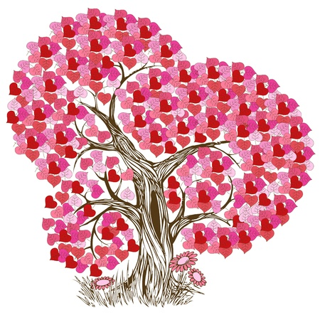 Beautiful and romantic pink tree illustration