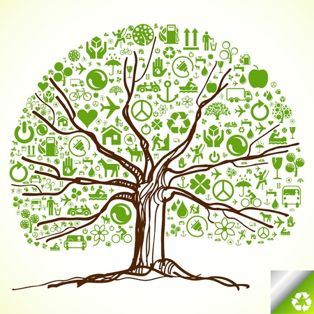 Animated ecology tree made of ecological icons