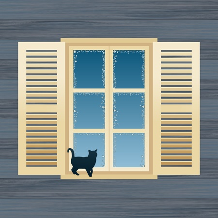 Animated country house window vector illustration