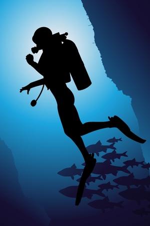 Scuba diving vector background