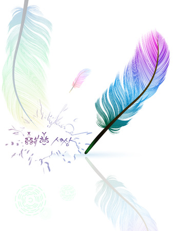 Multicolored feathers  Caption pen  the air light feathers