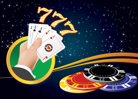 Logo for the casino  Four aces in hand  Three semirky  Chips for poker
