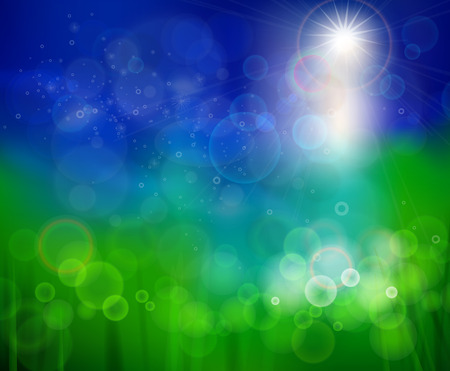 Bluish green background. Abstract background of summer. Abstract bubbles and reflections on a background summer. Sunny warm gentle summer background.
