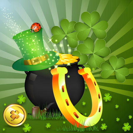 Gold Goblin. Cap of elf. Golden horseshoe for good luck. Composition on luck. St patricks day