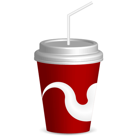 Illustration pour Drink with straw, vector art illustration of fast food. - image libre de droit
