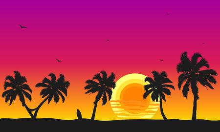 Illustration pour Sunset  with palm trees surfboard - image libre de droit