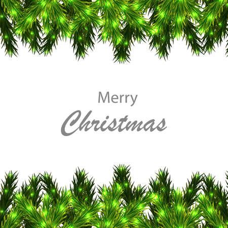 Illustration pour Christmas tree branches border with congratulations, vector art illustration. - image libre de droit
