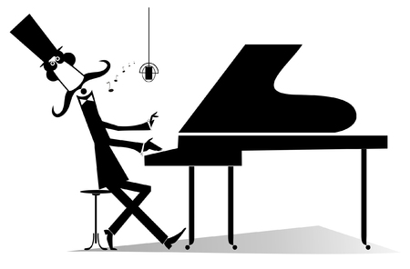 Illustration pour Pianist original silhouette isolated. Mustache gentleman in the top hat is playing music on piano and singing - image libre de droit