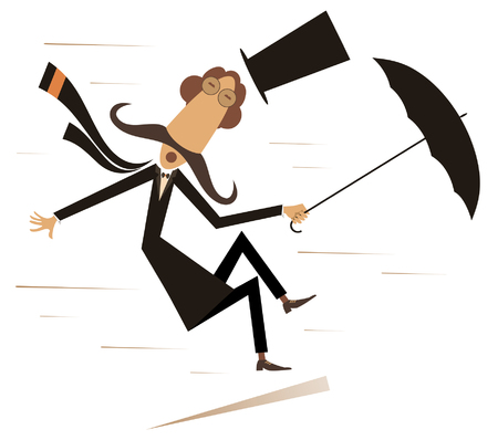 Illustration for Strong wind, mustache man in the top hat with umbrella isolated illustration. Strong wind and a long mustache man lost his hat and try to keep an umbrella black on white illustration - Royalty Free Image