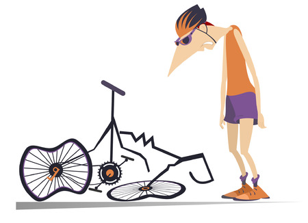 Ilustración de Cyclist and a broken bike isolated illustration. Sad cyclist standing near a broken bike with downcast head and hands isolated on white illustration - Imagen libre de derechos