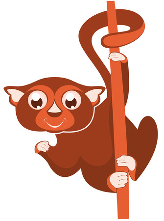 Illustration pour Lemur or sloth original illustration. Cute lemur or slot holds on the tree isolated on white illustration - image libre de droit