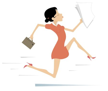 Running businesswoman isolated illustration. Young woman with bag and papers runs for business