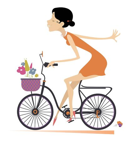 Illustration pour Pretty young woman rides a bike illustration.   Cartoon sexy young woman with flowers rides a bike and looks healthy and happy isolated on white illustration - image libre de droit