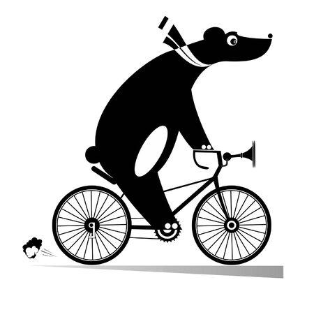 Illustration pour Funny bear rides a bike illustration. Cartoon bear rides a bicycle black on white illustration - image libre de droit