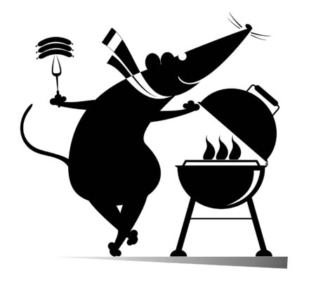 Illustration pour Barbecue and rat or mouse illustration. Cartoon rat or mouse frying sausages and steaks on the grill black on white illustration - image libre de droit