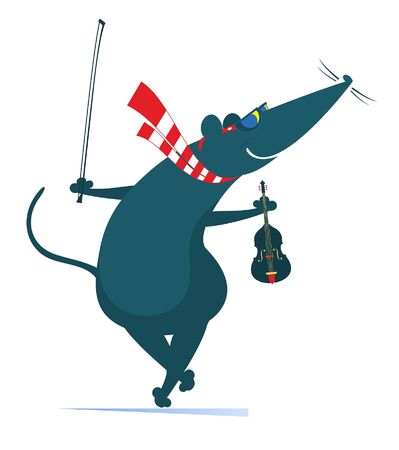 Illustration pour Cartoon rat or mouse plays violin illustration. Comic rat or mouse holds violin and fiddlestick isolated on white illustration - image libre de droit
