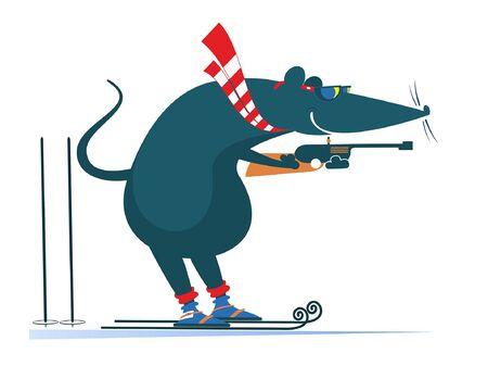 Illustration pour Biathlon competitor rat or mouse illustration. Shooting in the stand position biathlon competitor rat or mouse isolated on white - image libre de droit