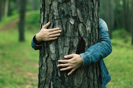 Photo pour tourist Stand and embrace the tree Represents love for nature - image libre de droit