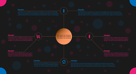 Vektor für Infographic in blue and pink colors on black background with booked - Lizenzfreies Bild