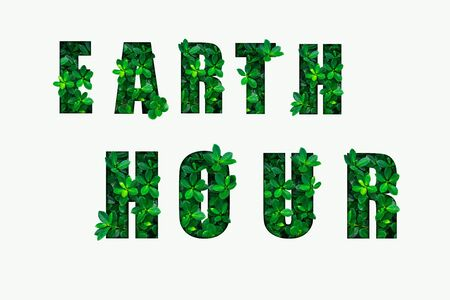 Photo pour EARTH HOUR text on white background. Green leaves background. - image libre de droit