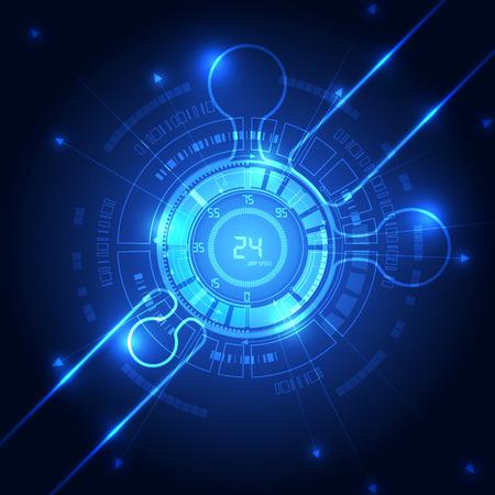 Foto de vector blue technology abstract background, illustration - Imagen libre de derechos