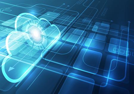 Illustration pour Abstract cloud technology background, vector illustration - image libre de droit