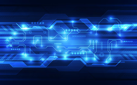 Illustration pour Vector abstract futuristic circuit board, high digital technology in blue. - image libre de droit